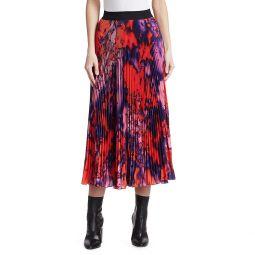 Tie Dye Pleated Midi Skirt