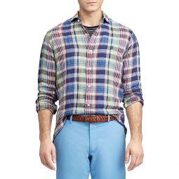 Classic-Fit Plaid Linen Shirt