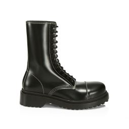 Leather Lace-Up Combat Boots