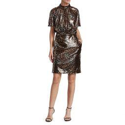 Leopard Shimmer Mockneck Dress