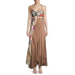 Mixed-Print Maxi Dress