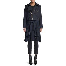 Zip-Front Wool-Blend Parka Coat