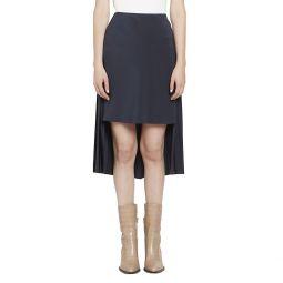 Crepe de Chine High-Low Pleat Back Skirt