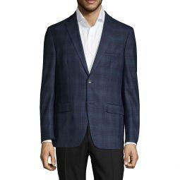 Stretch-Fit Plaid Wool-Blend Sportcoat