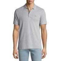 Mens Hartford Polo Shirt with Check Detail Gray