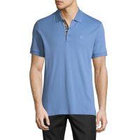 Mens Hartford Check-Facing Polo Shirt Light Blue
