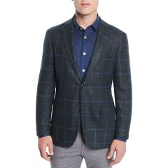 Mens Windowpane Two-Button Jacket