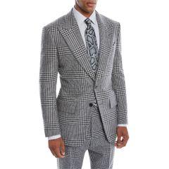 Mens Atticus Peak-Lapel Two-Button Glen Check Jacket