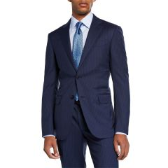 Mens Bead Striped Two-Piece Wool Suit