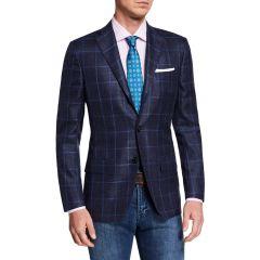 Mens Cashmere/Silk Windowpane Sport Coat