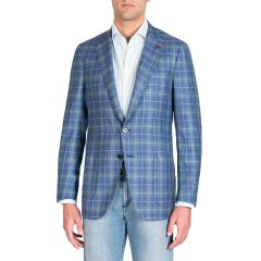 Mens Two-Tone Plaid Two-Button Jacket