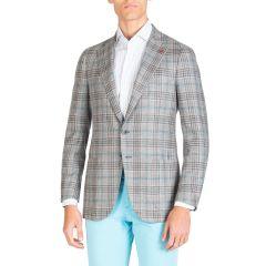 Mens Plaid Two-Button Jacket