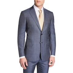 Mens Plaid Wool-Silk Two-Piece Suit