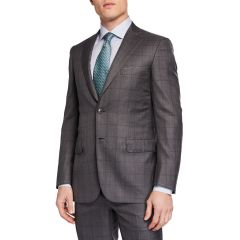 Mens Windowpane Two-Piece Suit