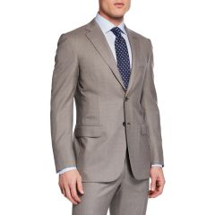 Mens Taupe Windowpane Two-Piece Suit