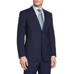 Mens Tonal Windowpane Two-Piece Suit
