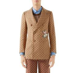 Mens Interlocking-G Double-Breasted Jacket