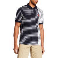 Mens Cut-Up Stripes Polo Shirt