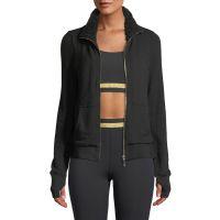 sherpa ruffle zip-front jacket