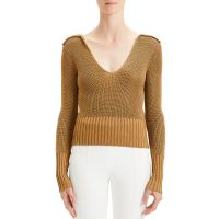 Back-Collar Long-Sleeve Roving Cropped Sweater