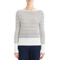 Striped Boat-Neck Pullover Sweater