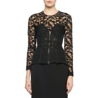 Long-Sleeve Zip-Front Lace Bustier Top