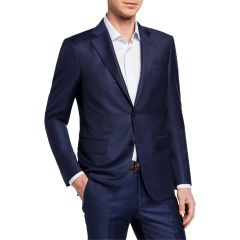 Mens Tonal Windowpane Two-Piece Wool Suit