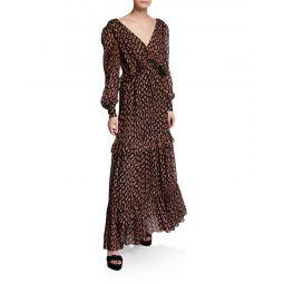 Winnie Paisley-Print Ruffle Maxi Dress