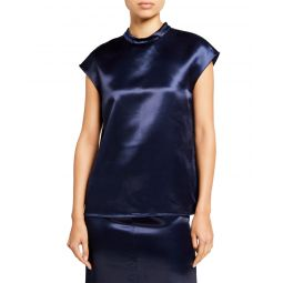 Satin Mock-Neck Sleeveless Top