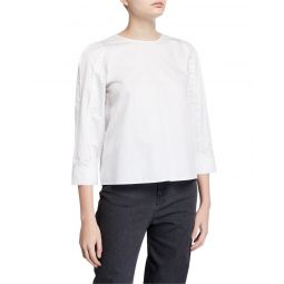 3/4-Sleeve Satin Poplin Sculpted Tucked Top