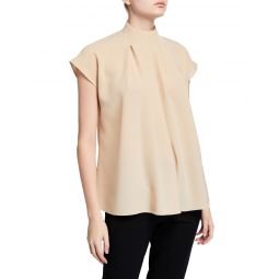 Esme Crepe Shirred High-Neck Top