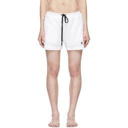 White Embroidered Logo Swim Shorts
