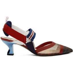 Navy & Red Colibri Slingback Heels
