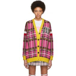SSENSE Exclusive Pink & Yellow Check Varsity Cardigan