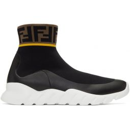 Black & White Tech Knit Forever Fendi High-Top Sneakers