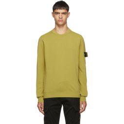 Yellow Rib Knit Yoke Sweater