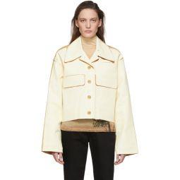 Beige & Tan Painted Twill Jacket