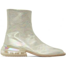 Silver Holographic Airbag Tabi Boots