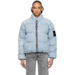 Blue Bleached Denim Puffer Jacket