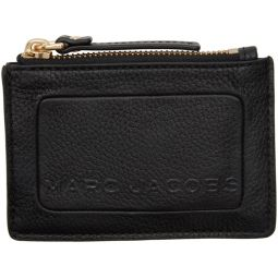 Black The Textured Box Top Zip Card Holder