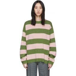 Green & Pink Wool Grunge Sweater