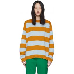 Blue & Yellow Wool Grunge Sweater