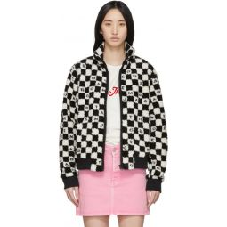 Black & White Logo Checkered Fleece Jacket