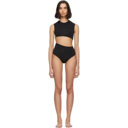 Black Diagonal One-Piece Swimsuit