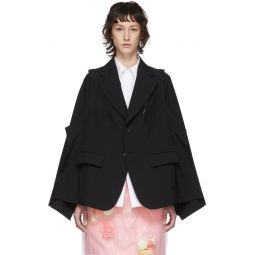 Black Tropical Wool Deconstructed Blazer
