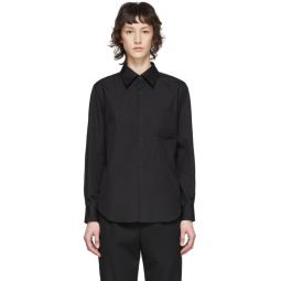 Black Exaggerated Back Pleat Shirt
