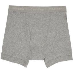 Three-Pack Grey Cotton Boxer Briefs