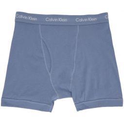 Three-Pack Blue Cotton Boxer Briefs