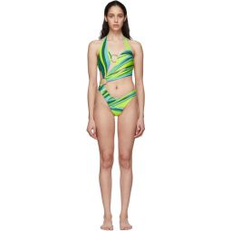 SSENSE Exclusive Green & Blue Half Moon One-Piece Swimsuit