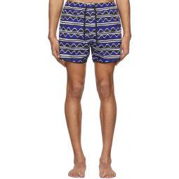 Blue Primitive Art Stripes Swim Shorts